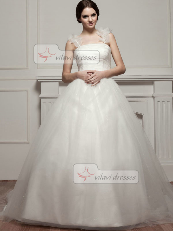 Ball Gown Straps Court Train Tulle Sequin Flower Wedding Dresses