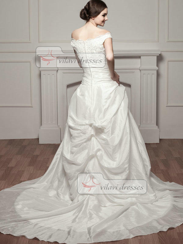 A-line Straps Court Train Taffeta Pick-Ups Flower Wedding Dresses