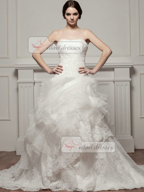A-line Sweetheart Court Train Organza Beading Pick-Ups Wedding Dresses
