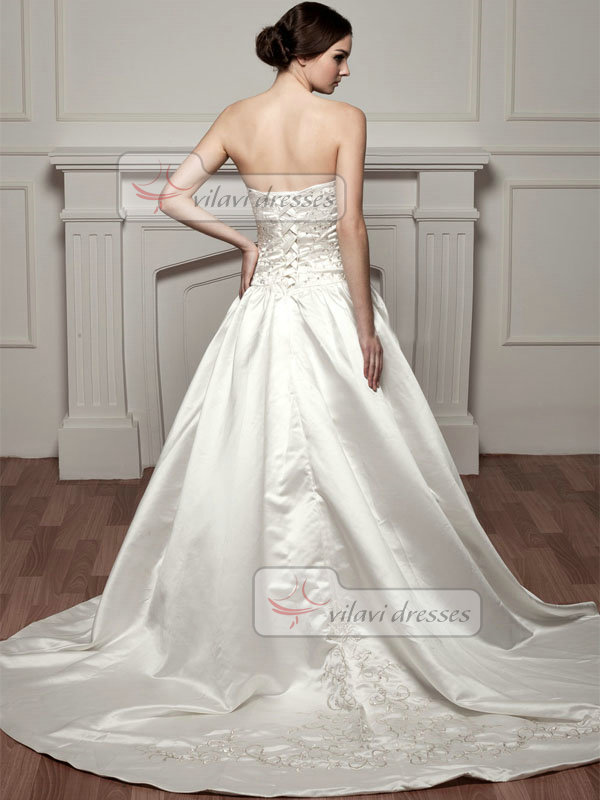 A-line Sweetheart Court Train Satin Sequin Embroidery Wedding Dresses