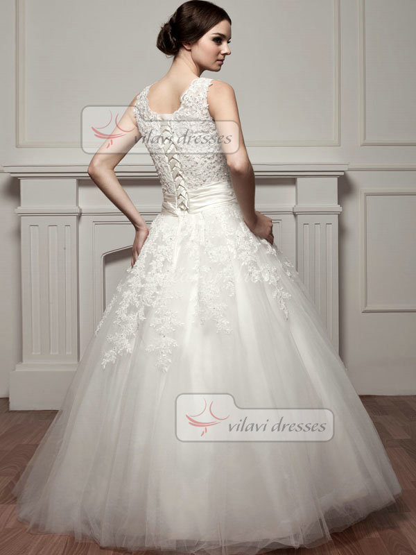 A-line Scalloped-edge Floor-length Tulle Tiered Wedding Dresses