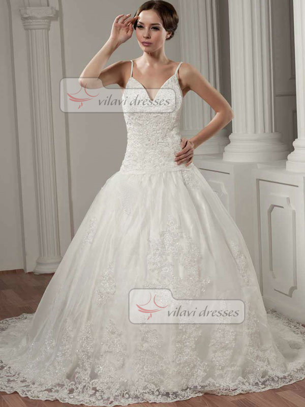 Ball Gown Spaghetti Straps Court Train Beading Lace Wedding Dresses