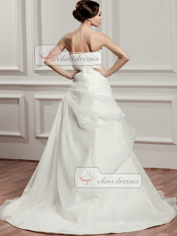 A-line Sweetheart Brush Train Organza Beading Tiered Wedding Dresses