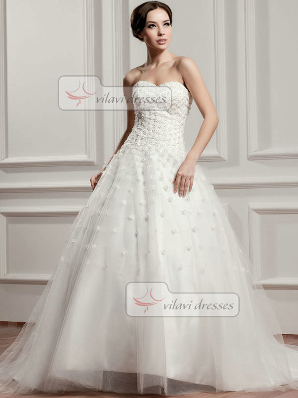 Ball Gown Sweetheart Brush Train Tulle Beading Flower Wedding Dresses