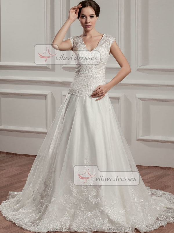 A-line V-neck Brush Train Organza Beading Sequin Wedding Dresses