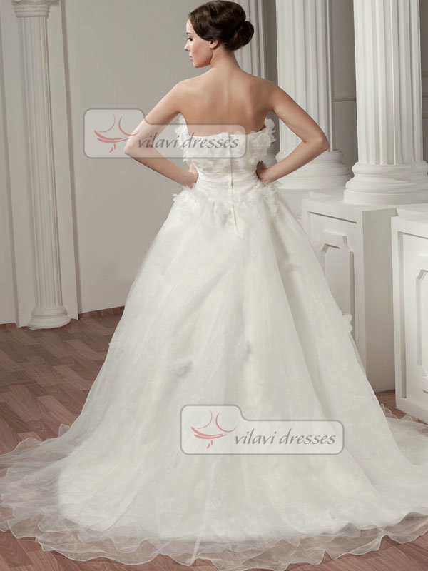 A-line Strapless Court Train Organza Flower Tiered Wedding Dresses