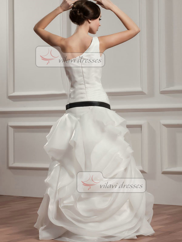 Over Hip One Shoulder Floor-length Organza Ruffle Wedding Dresses