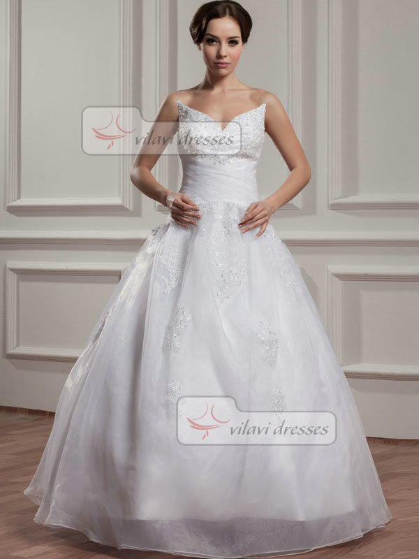 A-line V-neck Floor-length Organza Beading Sequin Wedding Dresses