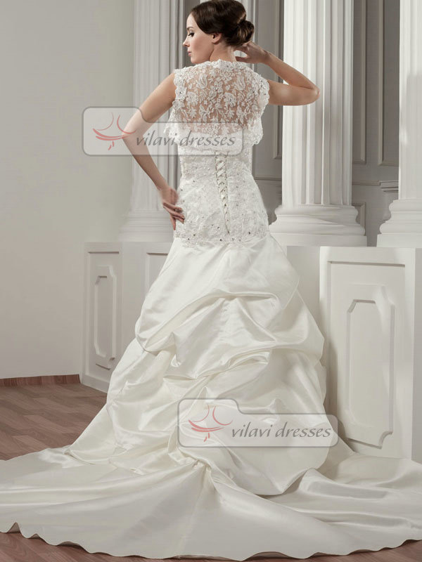 Over Hip Scalloped-edge Court Train Satin Crystal Pick-Ups Lace Wedding Dresses With Jacket
