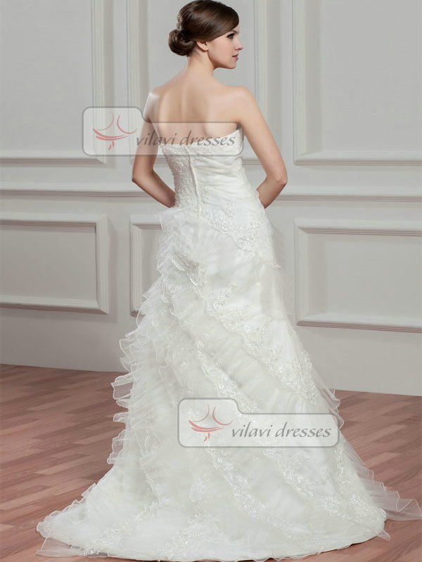A-line Tube Top Brush Train Organza Beading Sequin Wedding Dresses