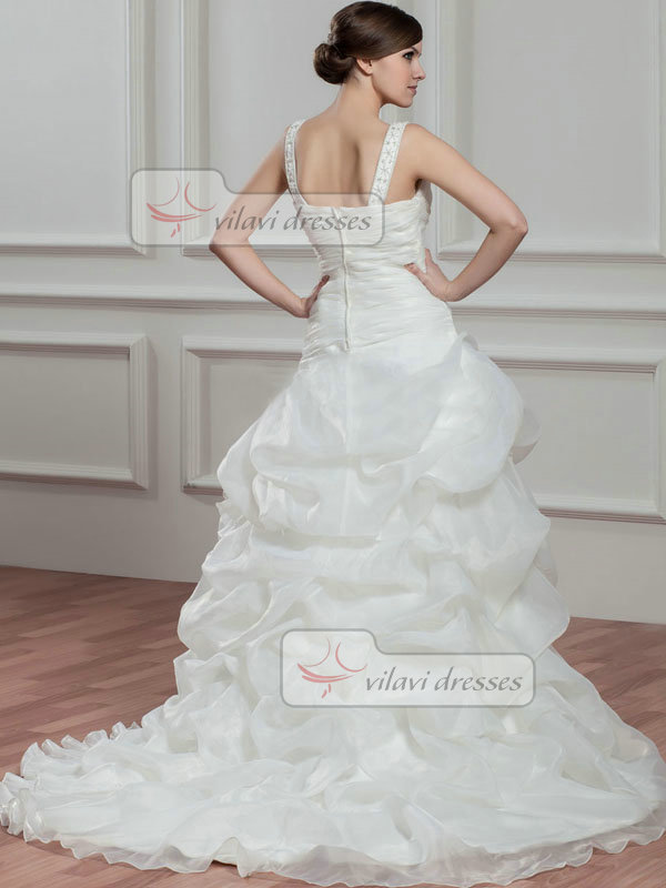 Over Hip Straps Brush Train Organza Beading Pick-Ups Wedding Dresses