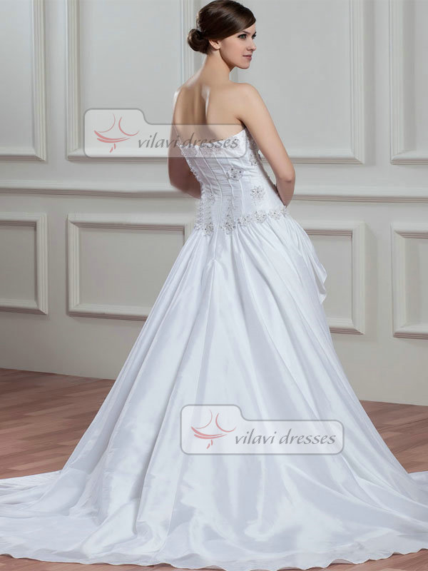 A-line Sweetheart Court Train Taffeta Flower Beading Wedding Dresses