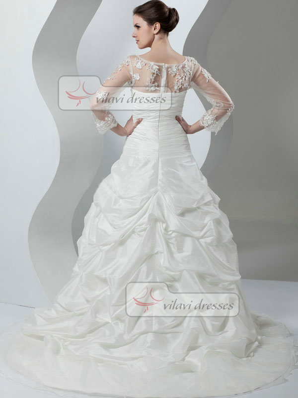 Princess Bateau Brush Train Taffeta Long Sleeve Beading Wedding Dresses