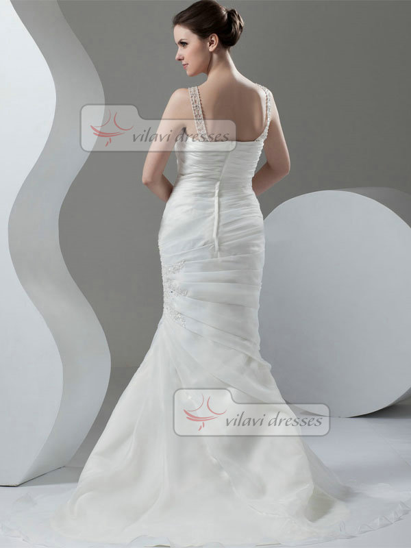 Mermaid Scoop Brush Train Organza Beading Crystal Wedding Dresses