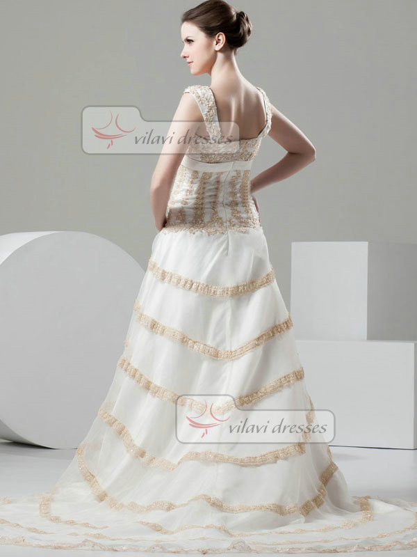 Over Hip Straps Court Train Tulle Beading Sequin Wedding Dresses