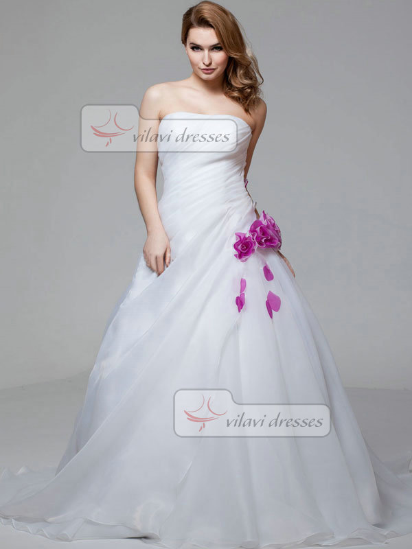 Ball Gown Tube Top Brush Train Organza Short Sleeve Flower Wedding Dresses With Jacket