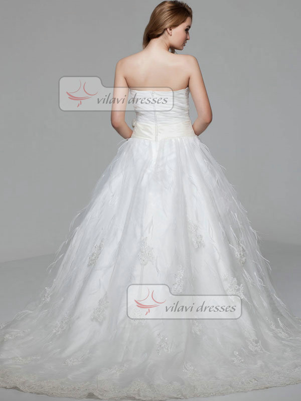 Ball Gown Strapless Brush Train Sashes Appliques Lace Wedding Dresses
