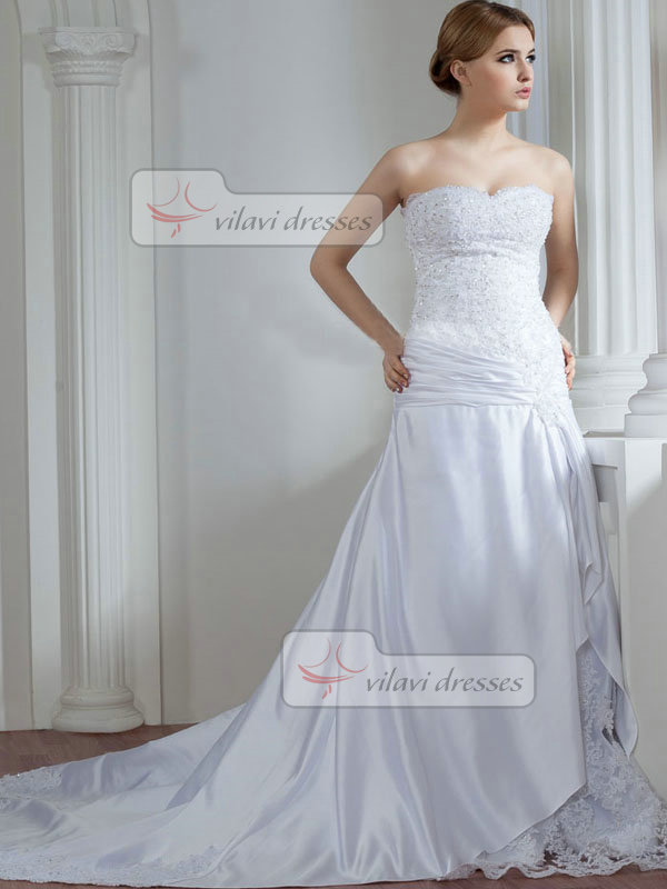 Over Hip Strapless Brush Train Satin Beading Sequin Wedding Dresses
