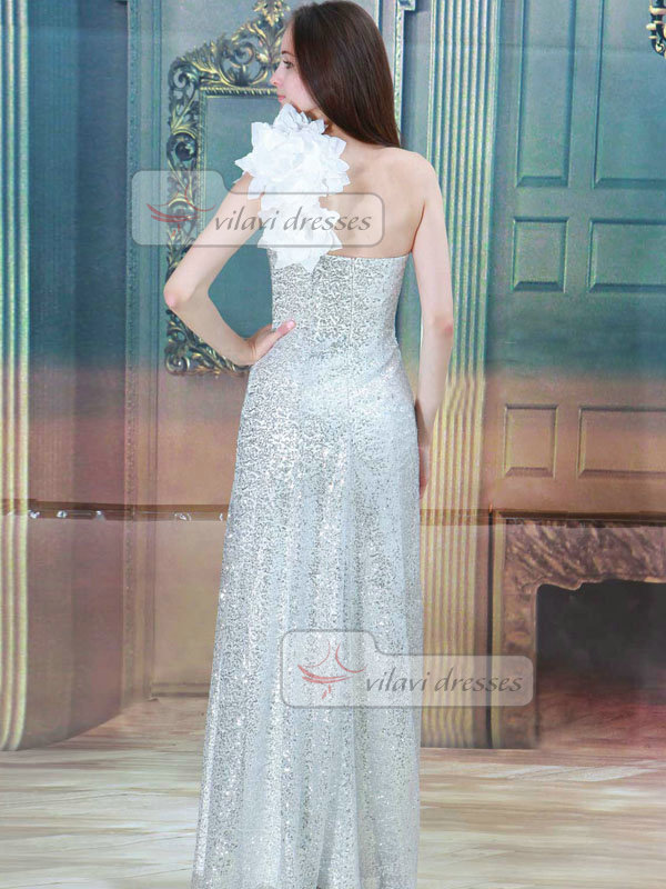 Column One Shoulder Floor-length Sequined Flower Wedding Dresses