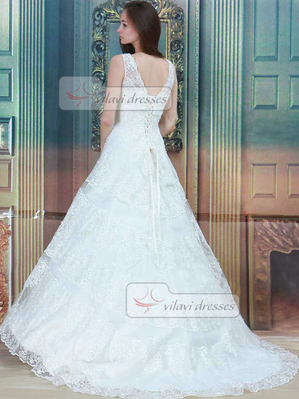 Ball Gown Bateau Brush Train Lace Wedding Dresses