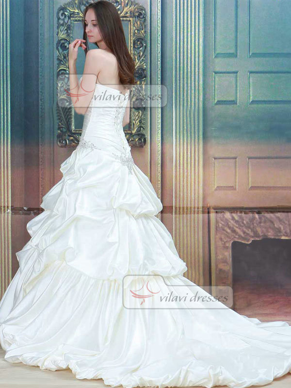 Mermaid Strapless Court Train Taffeta Beading Wedding Dresses
