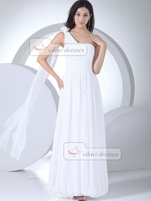 Column One Shoulder Floor-length Chiffon Draped Wedding Dresses