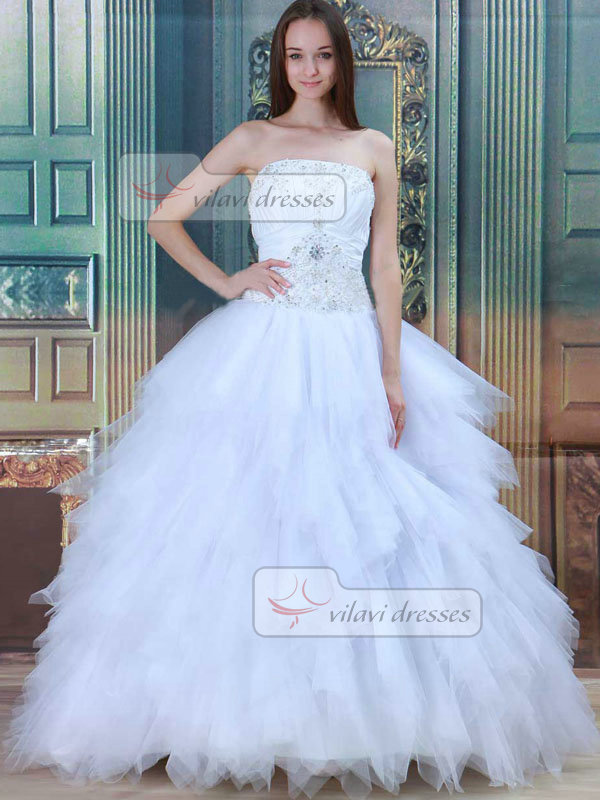 Princess Strapless Brush Train Tulle Beading Wedding Dresses