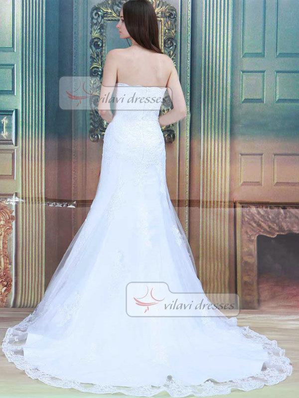 Mermaid Strapless Brush Train Tulle Sequin Appliques Wedding Dresses