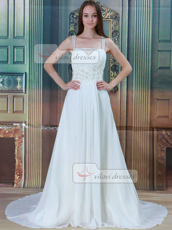 A-line Straps Brush Train Chiffon Sequin Draped Wedding Dresses