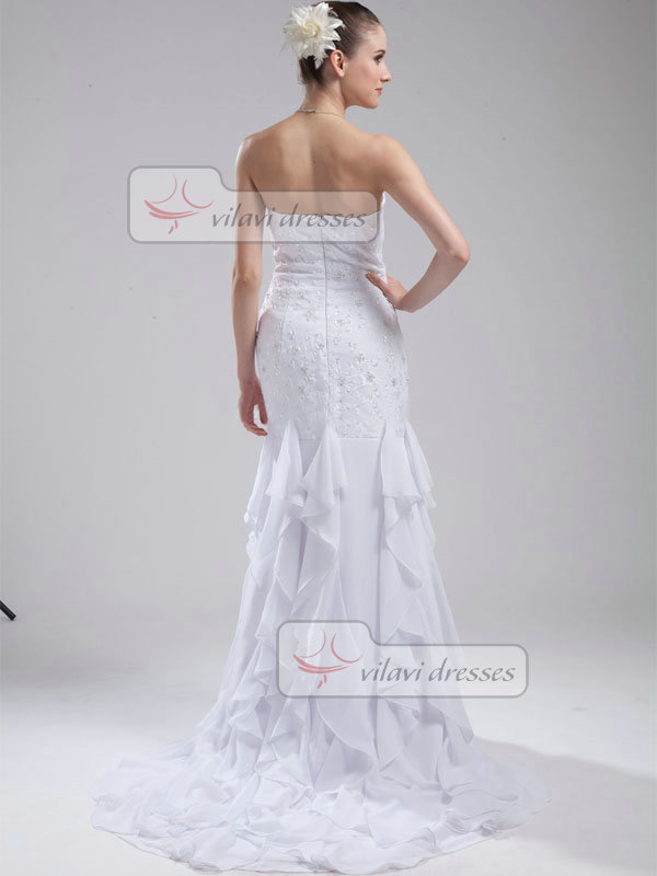 Mermaid Strapless Brush Train Chiffon Beading Wedding Dresses