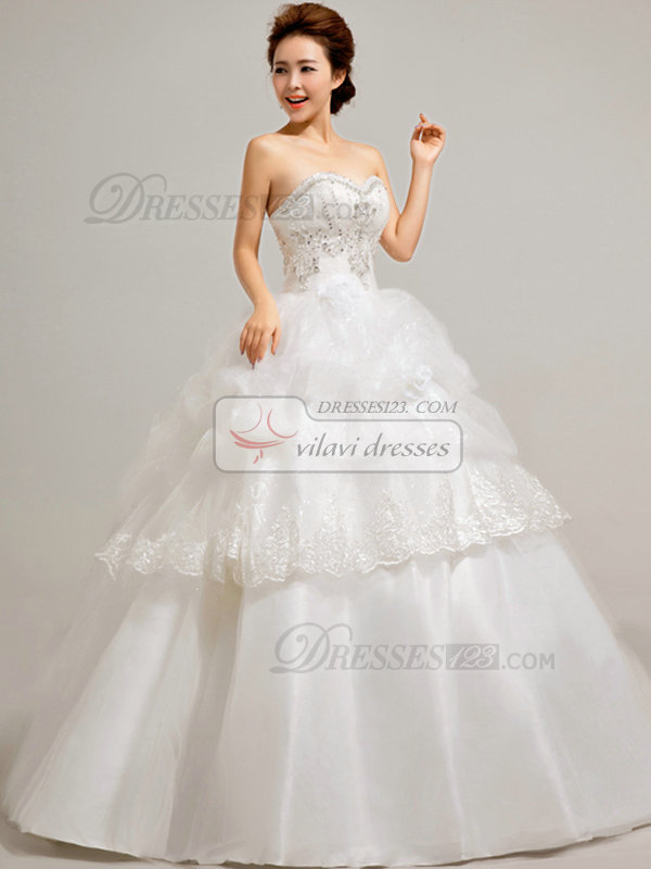 Ball Gown Sweetheart Floor-length Tulle Pick-Ups Wedding Dresses With Beading