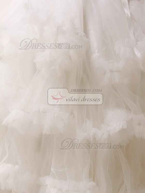 Princess Tube Top Floor-length Tulle Cascading Ruffle Wedding Dresses