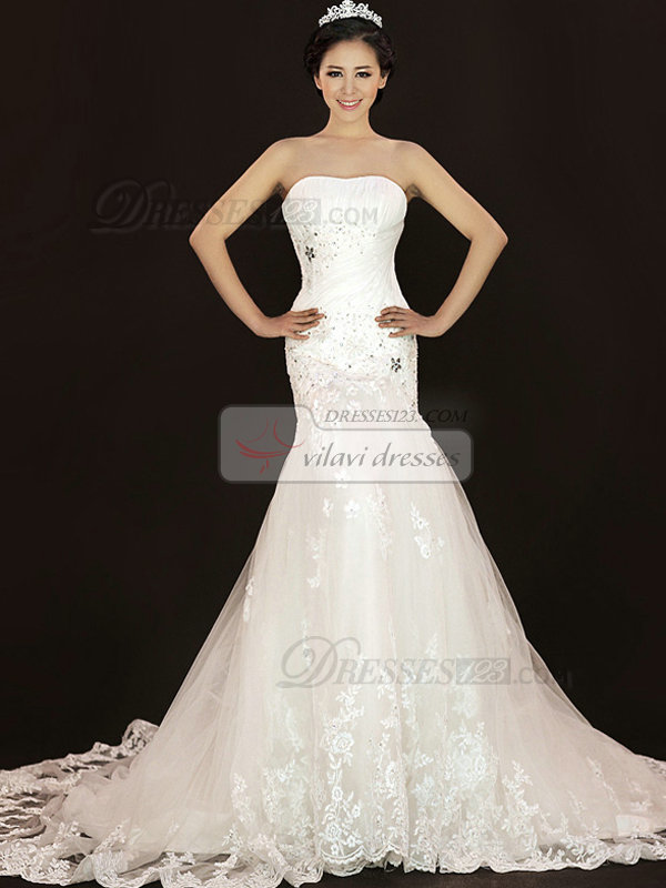 Mermaid Sweetheart Court Train Crystal Lace Wedding Dresses