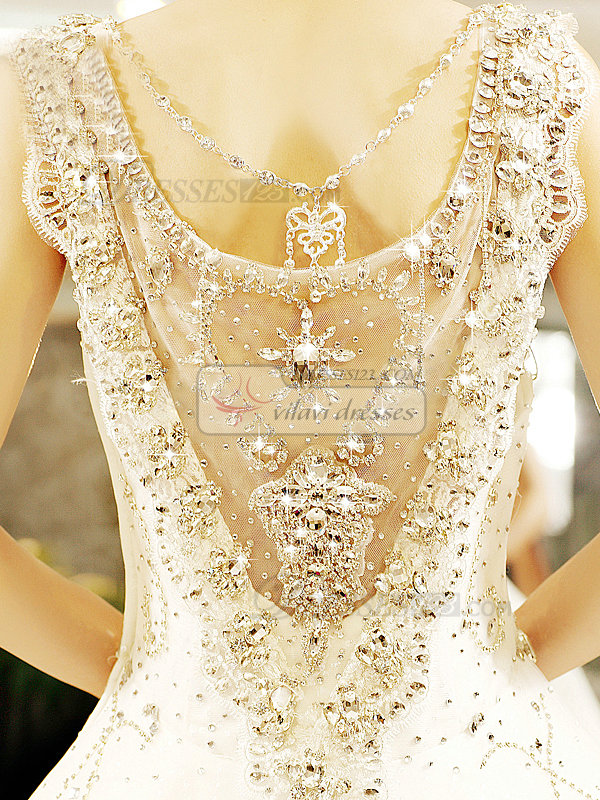 Ball Gown Scalloped-edge Brush Train Crystal Lace Wedding Dresses