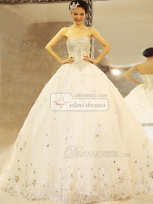 Ball Gown Sweetheart Chapel Train Crystal Lace Wedding Dresses