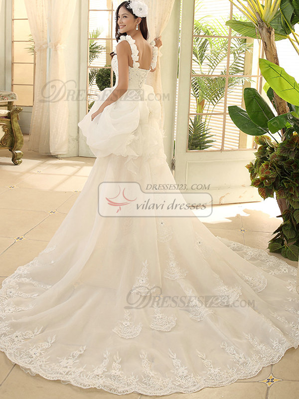 Princess Straps High Low Beading Lace Wedding Dresses
