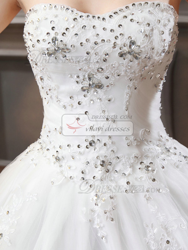 A-line Sweetheart Court Train Tulle Beading Wedding Dresses
