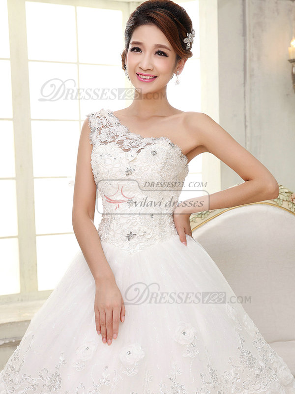 A-line One Shoulder Floor-length Beading Lace Wedding Dresses