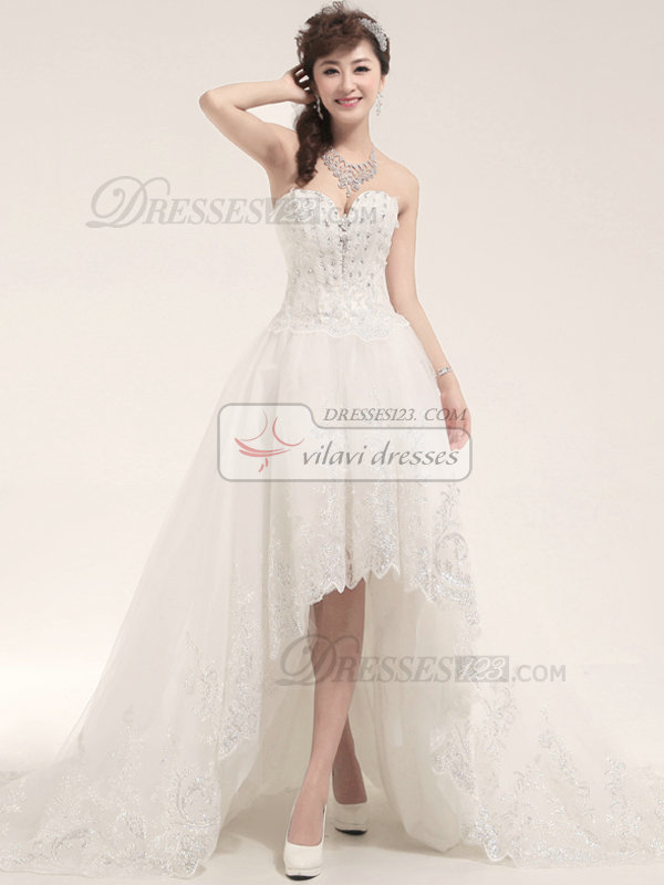 A-line Strapless High Low Organza Sequin Wedding Dresses