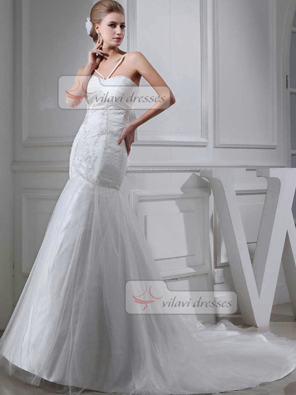 Mermaid Straps Sweetheart Brush Train Tulle Appliques Wedding Dresses