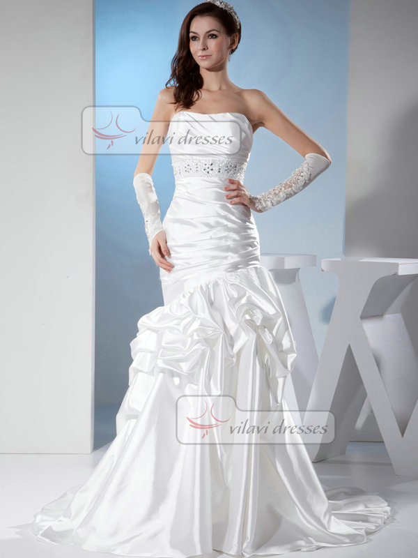 Mermaid Strapless Brush Train Satin Crystal Beading Wedding Dresses