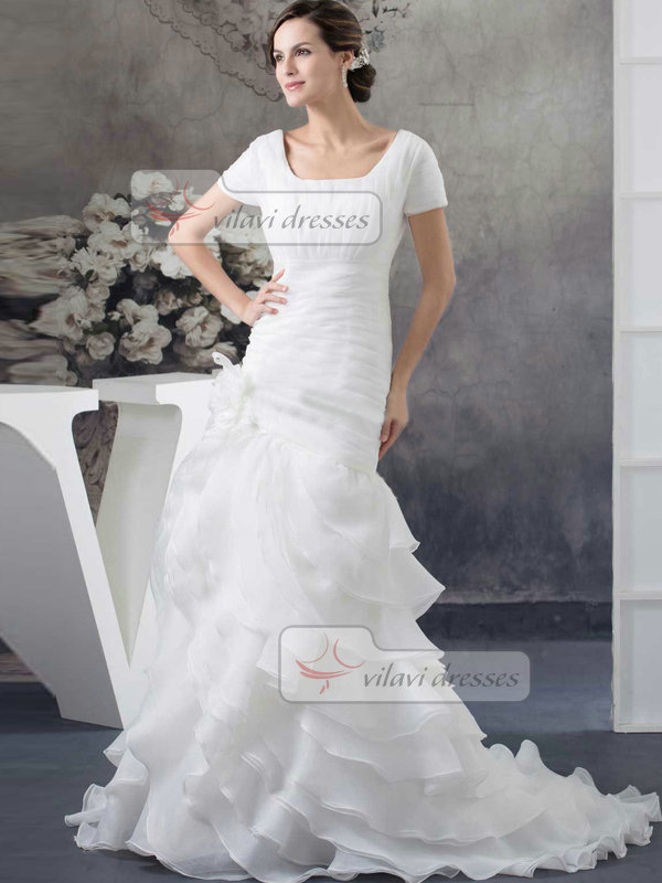 Over Hip Square Brush Train Organza Short Sleeve Flower Tiered Wedding Dresses