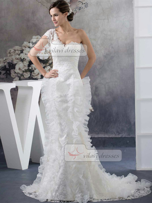Mermaid Scalloped-edge Court Short Sleeve Organza Lace Wedding Dresses