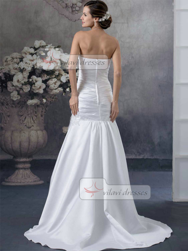 Mermaid Sweetheart Brush Train Satin Draped Wedding Dresses