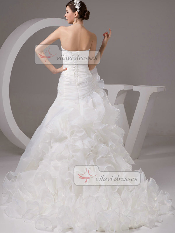 Over Hip Strapless Brush Train Organza Ruffle Wedding Dresses