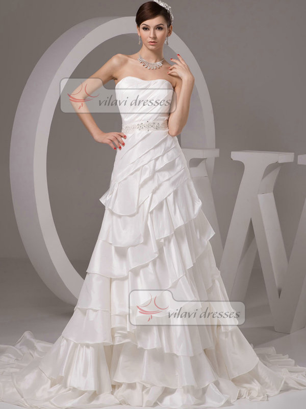 A-line Sweetheart Brush Train Stretch Satin Beading Wedding Dresses
