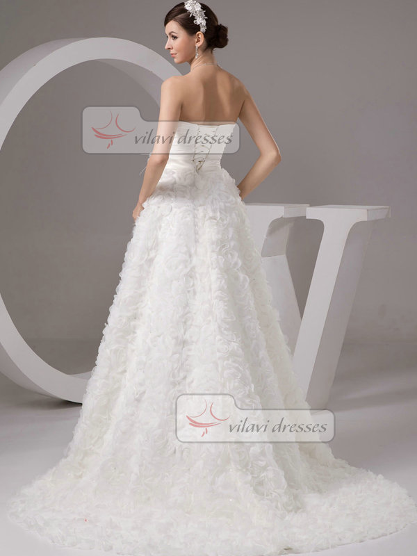 A-line Strapless Brush Train Flower Tiered Lace Wedding Dresses