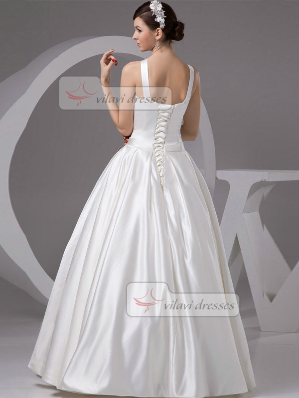 A-line Straps Floor-length Satin Bowknot Draped Wedding Dresses