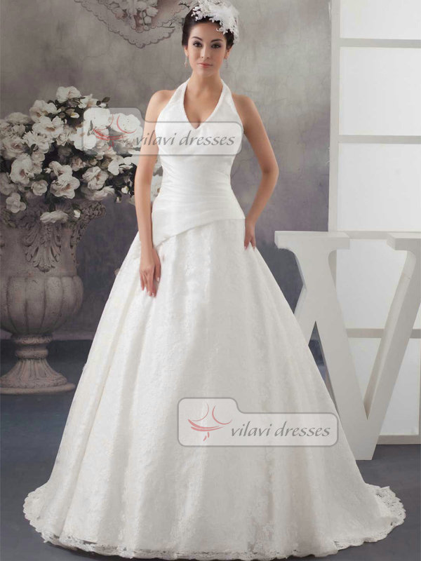 A-line Halter Brush Train Lace Wedding Dresses