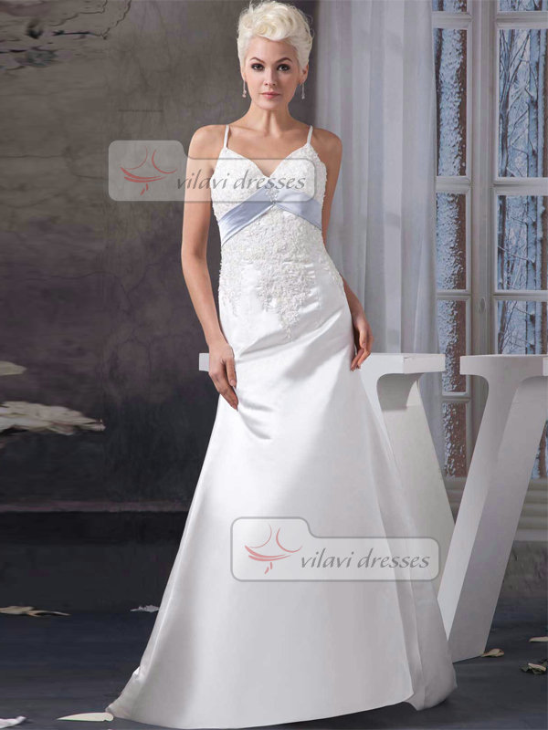 A-line Spaghetti Straps Brush Train Satin Beading Wedding Dresses